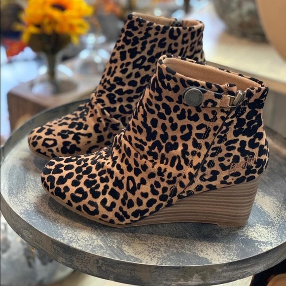Blowfish Shoes | Leopard Wedge Bootie